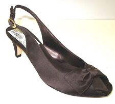 Van Eli di notte Open Toe w/Bow Brown Satin Slingback Evening Shoes Size 8N NEW