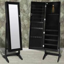 Sieradenkast met LED-lamp en spiegeldeur (zwart) sieraden juwelen kast kist