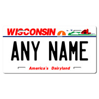 US Metal License Plate - Wisconsin - Customise your own plate