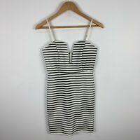 8 Birdies Women Dress Size Small Blue White Striped Sleeveless Zip Closure