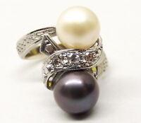14K White Gold Pearl Diamond Ring Sz 5 Halo Estate Ribbon Black Pearl Tahitian