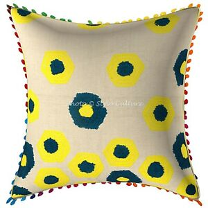 Decorative Cotton Geometric 16 x 16 Terry Embroidered Pom Pom Throw Pillow Cover