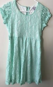 ALL4ME Dress Mint Lace Lined CHILD'S Size 14 EUC. Combined Post
