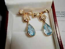 14k Earrings Aquamarine French Bow  Yellow Gold Tear Drop Vintage Jewelry