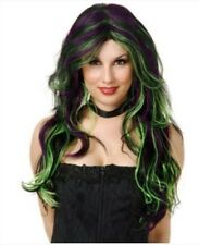 Witch wig black purple and green Goth vampire costume - Halloween Spooky party