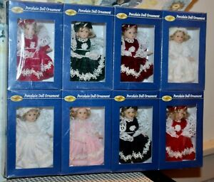 8 SPECIAL TIMES Boxed DOLL CHRISTMAS ORNAMENTS Porcelain #2