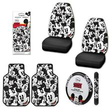 Mickey Mouse Disney Auto Interior Set Seat Covers Floor Mats Wheel Black White