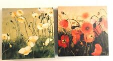 Set of 2 Shirley Novak 12 x12  Gallery Wrap Canvas Paintings Poppies Red Yellow