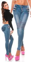 New Women Clubbing Skinny Jeans Biker Look Blue Ladies Trouser Size 6 8 10 12 14