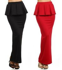 High Waist Pleated Peplum Ruffle Slim Long Pencil Maxi Skirt