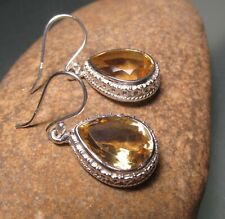 Sterling silver 7gr cut lemon quartz decorative earrings. Gift Bag.