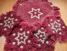 Doily Set Star 5 pieces Burgundy & Ivory table cover Vintage