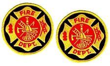 FIREFIGHTER FIRE DEPARTMENT FIRE MALTESE CROSS FIREMAN BADGE Iron-on 2-PATCH SET