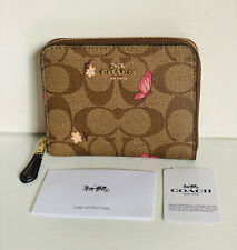 COACH SIGNATURE BUTTERFLY PRINT SMALL ZIP AROUND WALLET IN KHAKI BROWN PINK $178