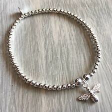 925 Sterling Silver 3mm Beaded Bracelet with Bee Charm £20
