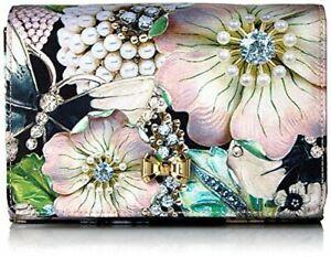 Ted Baker Evening Clutch London Gweni Gem Gardens Bow Handbag Black/Multi Fabric
