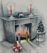 1930s Genuine Steel Engraving  Warm Cozy Christmas Greeting USS Arizona