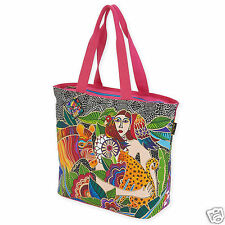Laurel Burch Womans Spirit Earth Song Large Black White Brights Tote Bag New