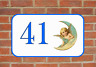 House Door Number Sign Angel Moon Design Metal Door Sign