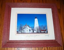 Sandy Hook Lighthouse in a Double Matted USA Hardwood Frame! Signed by Artist