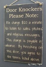 Door Knockers Black Sign -  Wooden Door Entry Bar Man Cave Workshop Welcome