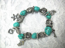 TURQUOISE BLUE HOWLITE NUGGET & ROSES w HEART FISH KEY CHARMS STRETCH BRACELET