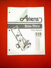 ARIENS 938 SERIES SNO-THRO SNOWTHROWER / SNOWBLOWER PARTS MANUAL 038015C 5/96