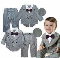 Baby Boy Formal Wedding Christening Tuxedo Suits Outfit+Pants Set Size 0 1 2 3 4