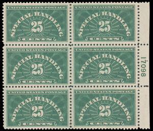 1925 25c DEEP GREEN SPECIAL HANDLING RIOGHT PLATE #17098 BLOCK OF SIX MINT #QE4