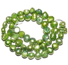 NP276 Green 6mm - 8mm Flat-Sided Potato Cultured Freshwater Pearl Gemstone Beads
