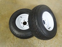 TWO New 20.5X8.0-10 Deestone Trailer Tires 12 PLY on 5 Hole Wheels 20.5X8.00-10
