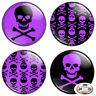 "Purple Skull & Crossbones 1.25"" Pinback Button BADGE SET Novelty Pins 32 mm"
