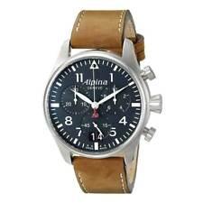 Alpina Men's Watch Startimer Pilot Chronograph Blue Dial Strap AL-372N4S6