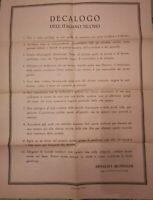 DOCUMENTO FASCISTA PERFETTO DECALOGO DELL'ITALIANO NUOVO