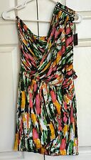 NWT T BAGS Los Angeles Multi Colored Print One Shoulder Tunic Top Size S
