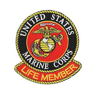 """Marine Corps Life Member Iron On Patch 4"""" x 4"""" PM7144 Licensed by Eagle Emblems"""