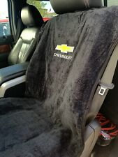 Pair Embroidered Black Seat Armour Cover Protectors For Chevy Cars Trucks