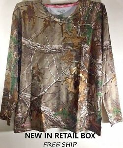 New NWT Womens  Realtree APS  Thermal Crew Neck Top Camo Green Size XXL 44-46