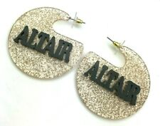 Personalized Custom Gold Glitter and Black Earrings Name Plate LaserCut Stunning