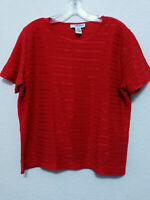 SAG HARBOR Womens Red Knit Top Size L Pullover Textured Sweater Blouse