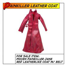 Phicen Painkiller Jane Hot Red Leatherlike Coat for 1/6 12 in scale Female Toys