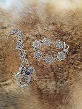 Lucky Brand necklace w/matching bracelet silver tone flower design