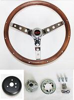 "1964-65 Chevelle El Camino GRANT Wood Walnut Steering Wheel 15"" Red black center"