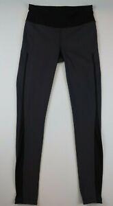 LULULEMON Gray Black Scalloped Cut Out Leggings Pockets High Mesh Size 6
