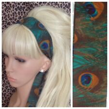 GREEN PEACOCK FEATHER PRINT FABRIC HEAD SCARF HAIR BAND SELF TIE BOW 50s 60s