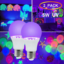 2x UV LED Black Light Party Bulbs 5W E26 Glow in The Dark UV Fluorescent Lamp