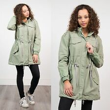ADIDAS ORIGINALS KHAKI GREEN PARKA COAT HOODED 90'S STYLE WARM WINTER CASUAL 10