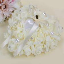 Milky White Romantic Rose Wedding Ring Cushion Pillow Heart Box With Pearl