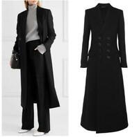 Women's Double Breasted Wool Blend Trench Outwear Jacket Coat Slim Long Overcoat