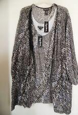 Maggie Barnes Beige Black Sweater Set Twinset Cardigan set Size 5X 34/35 NWT